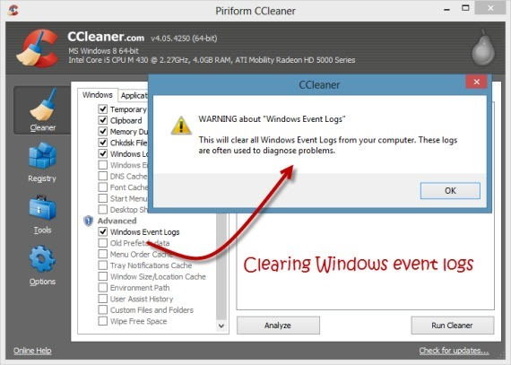 Clearing Windows Event logs using CCleaner