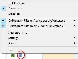 Full Throttle context menu