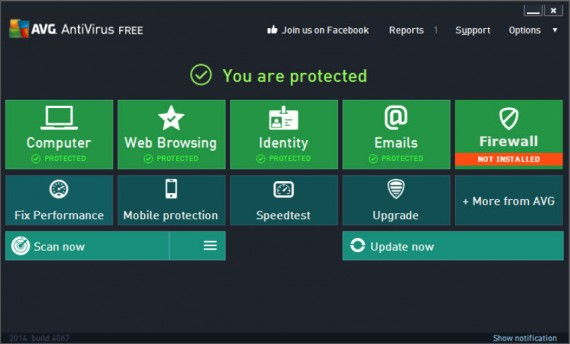 AVG Antivirus Free 2014 main interface