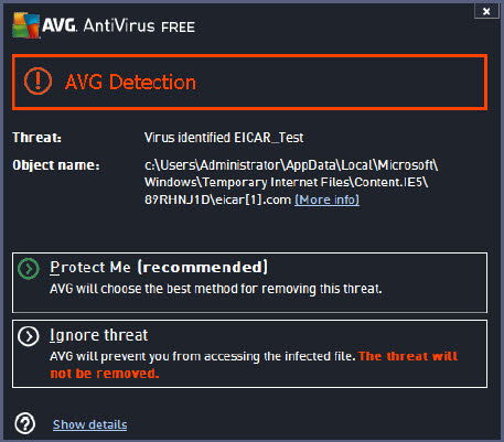 AVG Antivirus Free 2014 virus detection