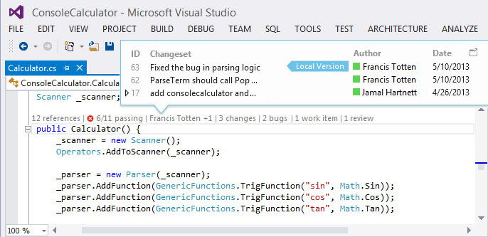 visual studio express application insights