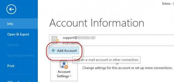 Outlook 2013 add account