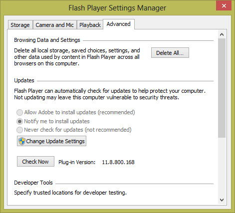 Flash Player Settings Manager Advanced tab