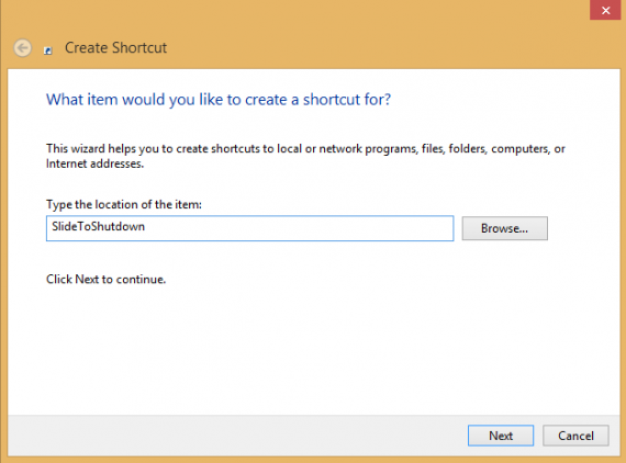 Create Shortcut Slide To Shutdown