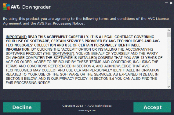 AVG Downgrader agreement