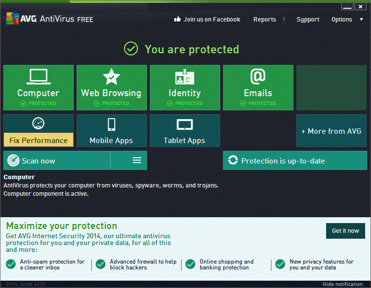 Final result with AVG Free Antivirus