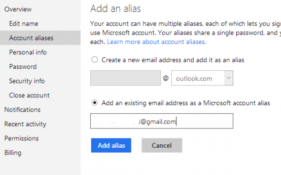 add alias in outlook
