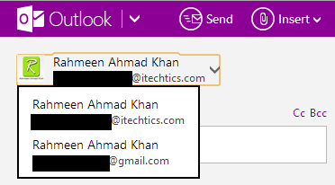 choose sender in outlook