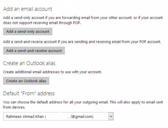 set default sender in outlook