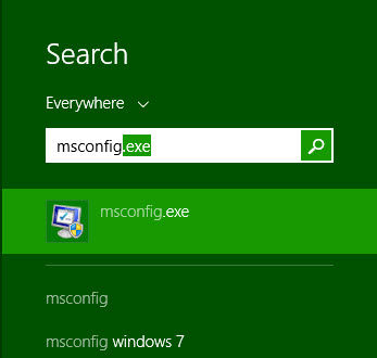 msconfig search