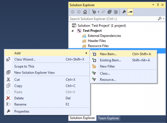 Add a file in Visual Studio 2013