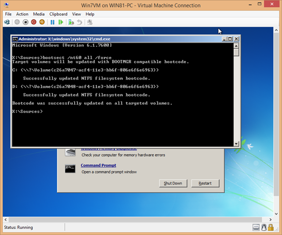 Windows 7 command to fix black screen executed successfully