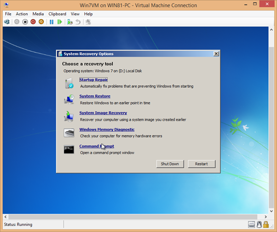 Windows 7 open command prompt for repairing