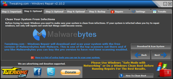 Windows Repair antivirus scanning option