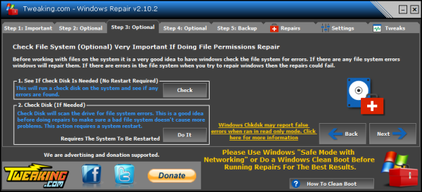 Windows Repair check disk