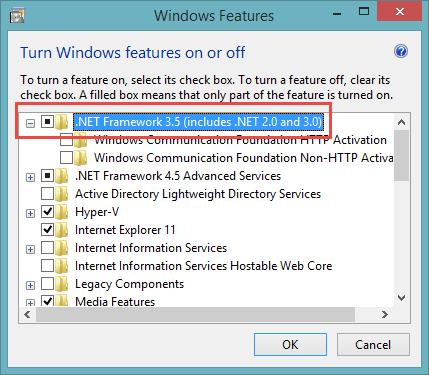 .NET Framework 3.5 enable the framework
