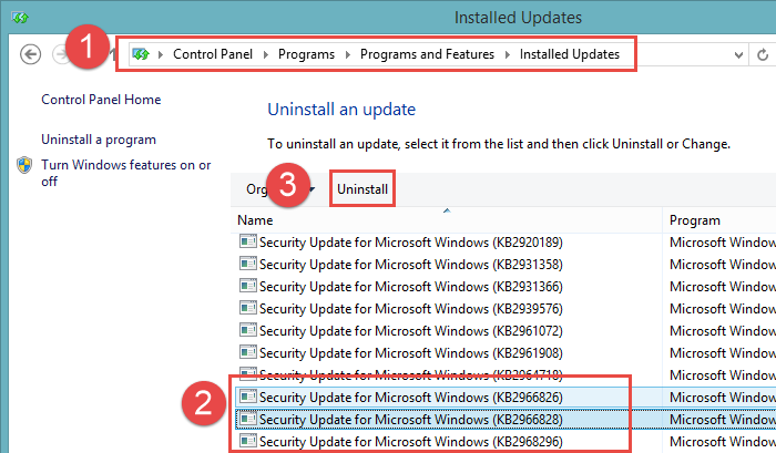 .NET Framework 3.5 uninstalling Windows Updates