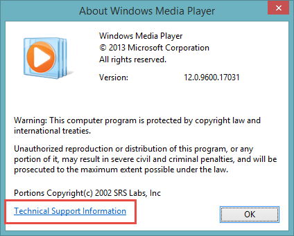 Codecs Windows Media Player Technical Support Information
