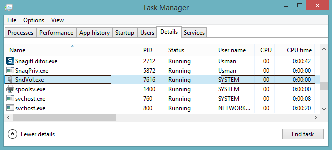 Task manager showing sndvol running on system account