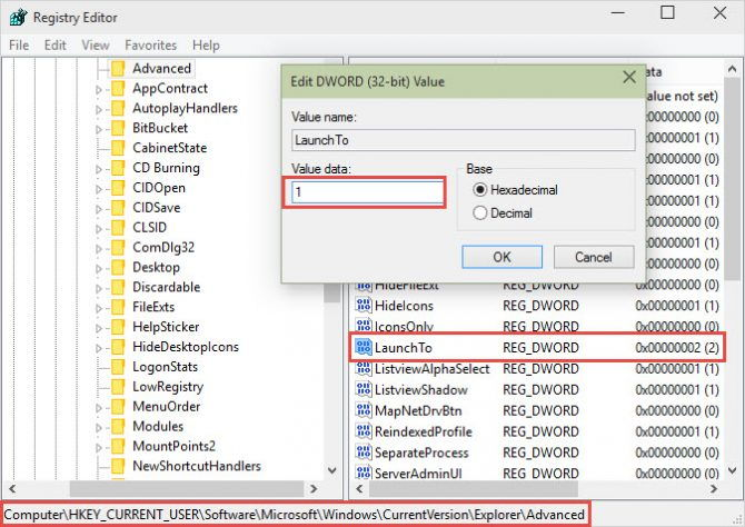 Changing LaunchTo Registry value