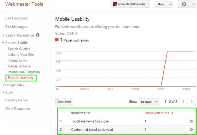 Google Webmasters mobile usability report