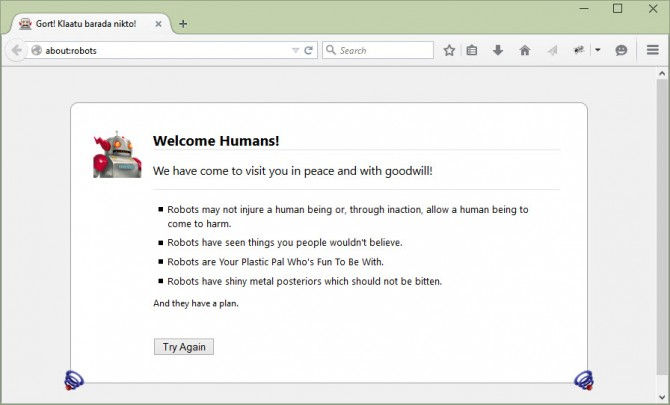 about robots command firefox