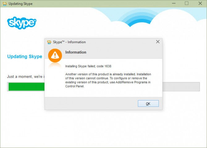 Fix installing skype failed with error code 1638