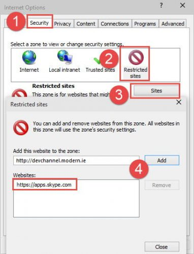 Adding Skype Apps to restricted sites in Internet Options