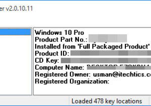 Magical Jelly Bean Keyfinder finding Windows 10 product key