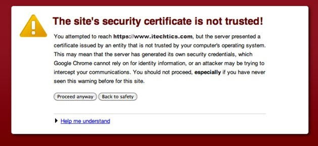 The site's security certificate is not trusted error in chrome