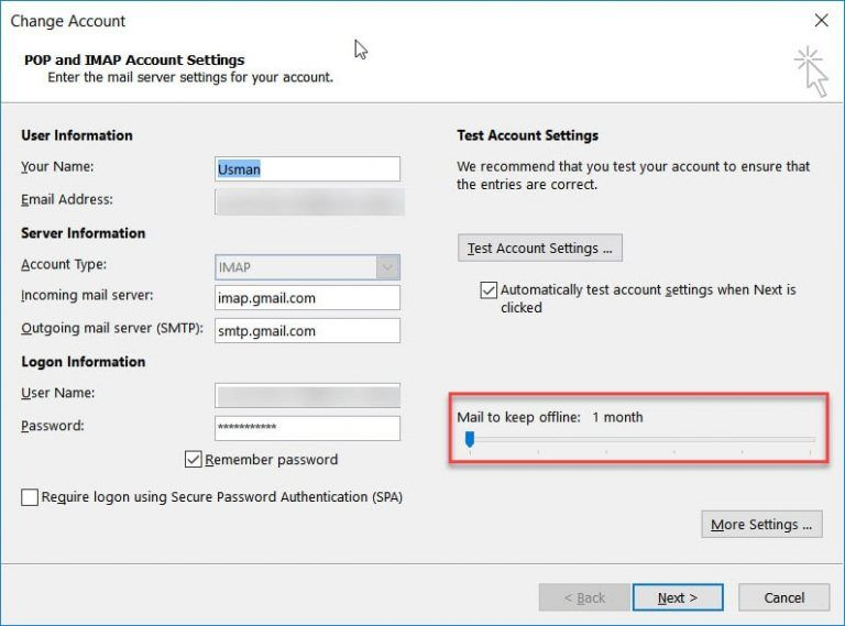 Fix Outlook 2016 Freezes/Hangs With Gmail IMAP 5