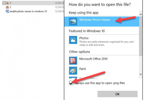 Enable Windows Photo Viewer in Windows 10