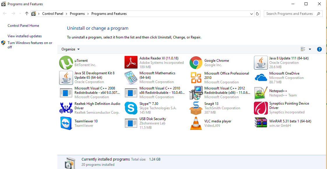 How to Hide Programs in Programs and Features in Windows 10