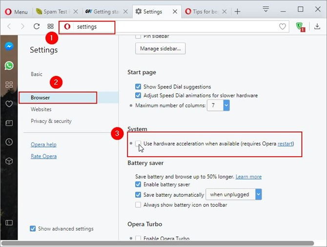 disable hardware acceleration in Opera