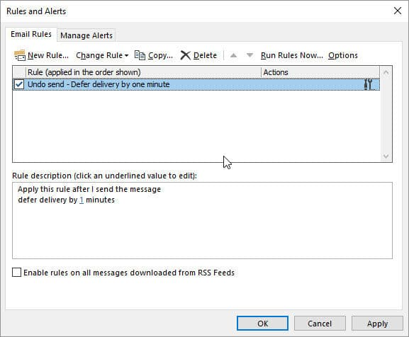 Undo send - Defer delivery by one minute in Outlook