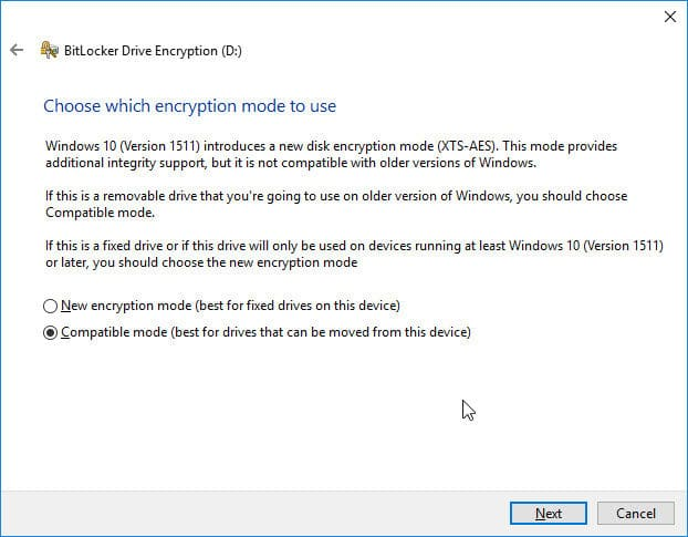 Choose the encryption mode to use