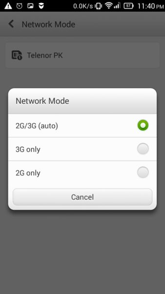 Mobile Network mode selection