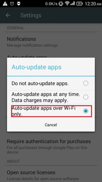 Auto-update apps over Wifi