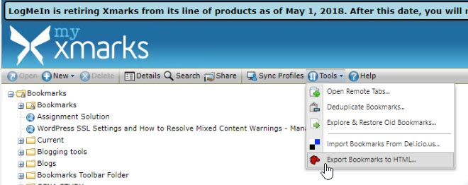 Exporting Bookmarks from XMark