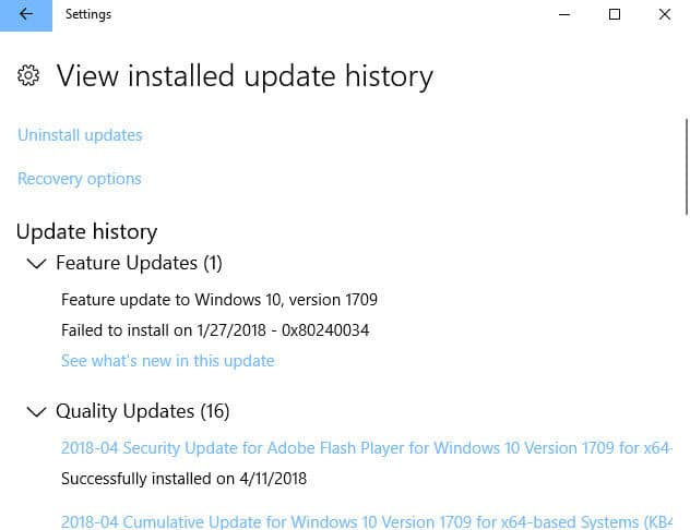 KB4093105 Updated failed to install