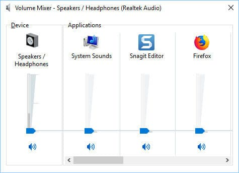 Windows 10 Sound Mixer