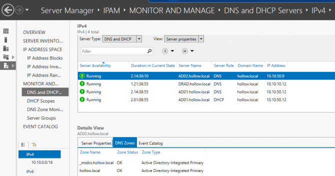 Microsoft IPAM DNS and DHCP Servers monitoring
