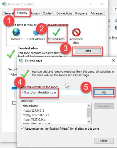 Adding Cisco VPN URL to trusted sites in Internet Options