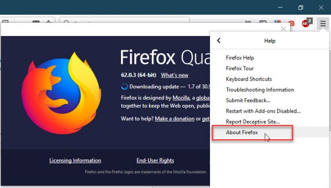 Checking the installed version of Firefox