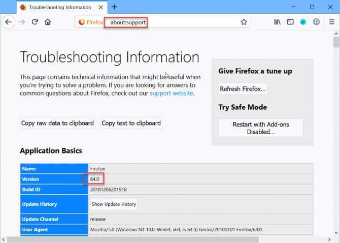 About Support troubleshooting information version and build number of Firefox