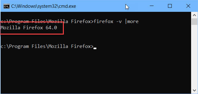 Firefox version using command line