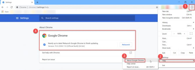 Updating Chrome to Version 71