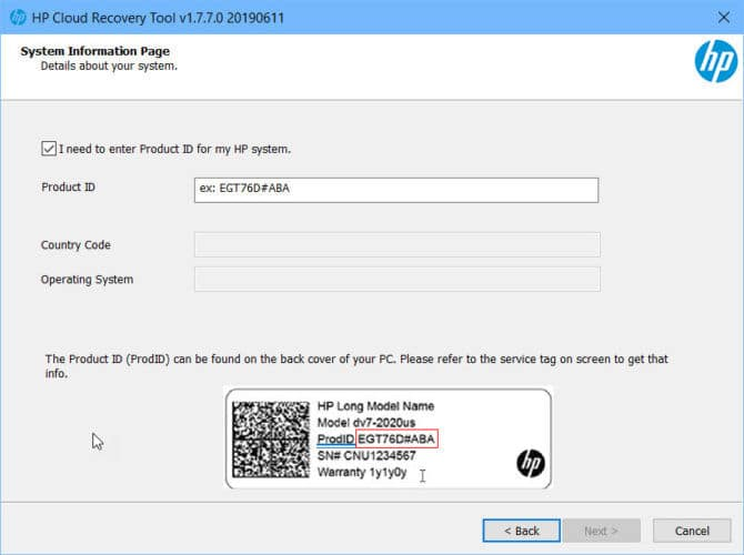 HP Cloud Recovery Tool