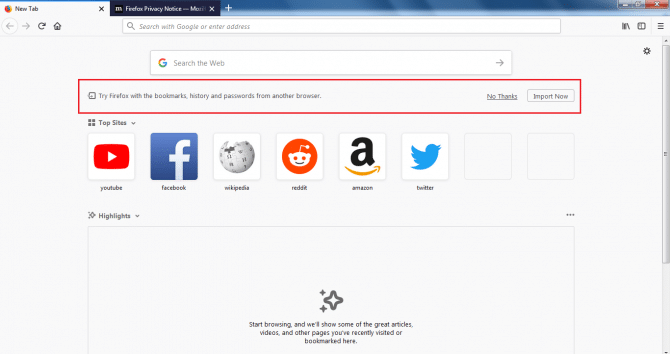 Import bookmarks history and passwords in Firefox