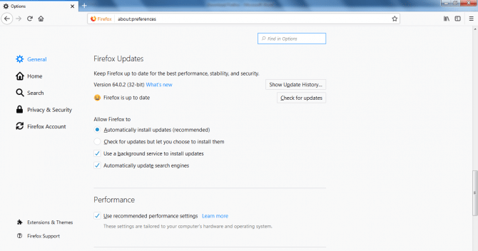 Turn on automatic updates in Firefox